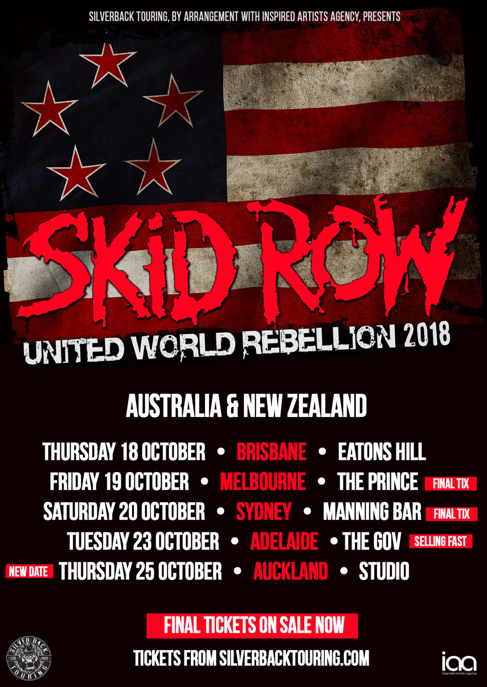 Skid Row (USA) - AustraLIa & New Zealand