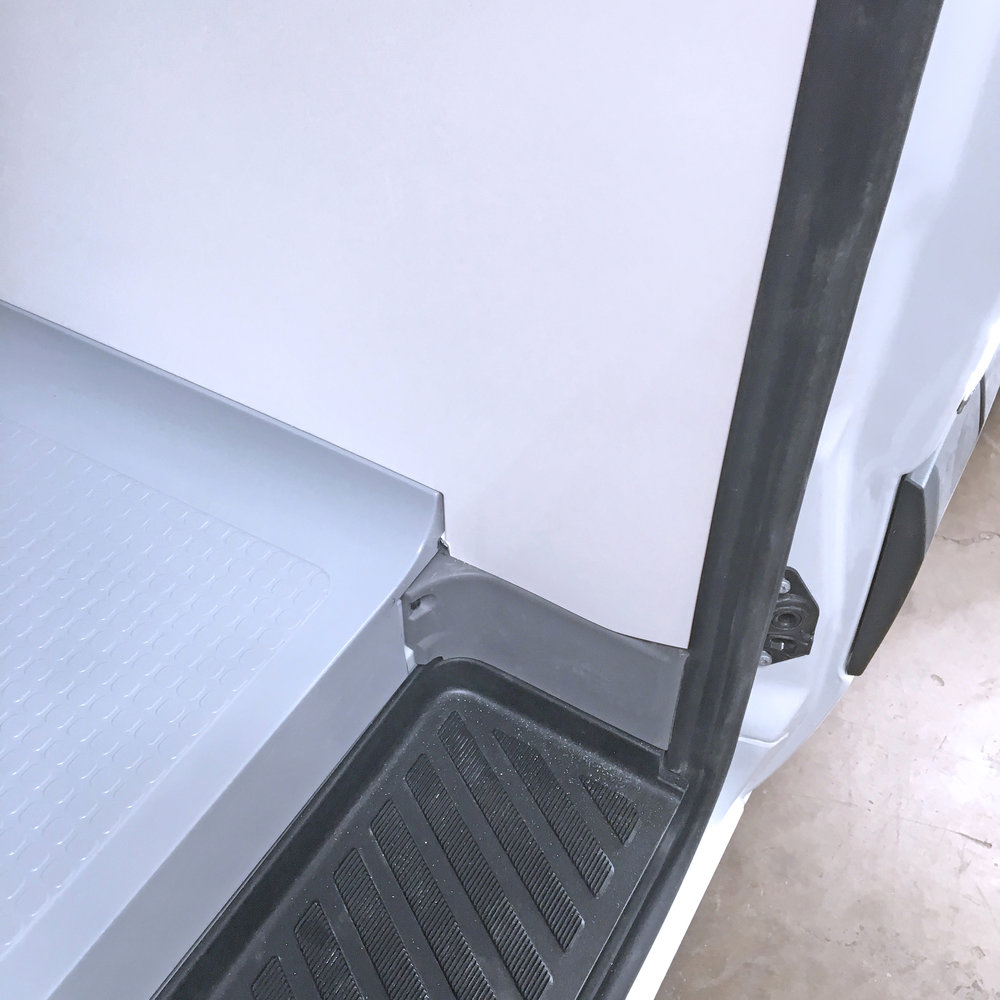Cabin divider sits pretty on the van's integrated step