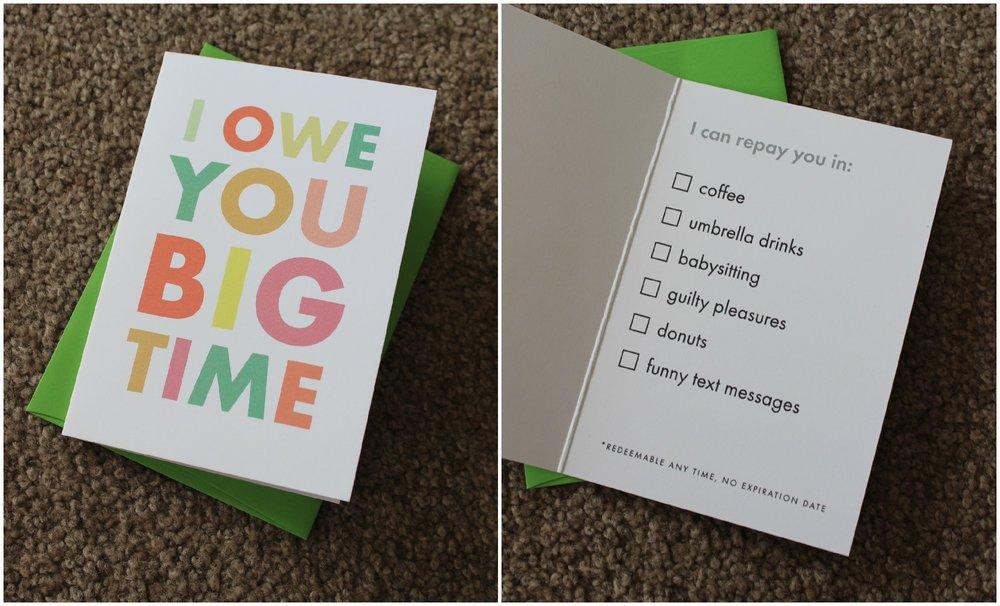 I Owe You Big Time