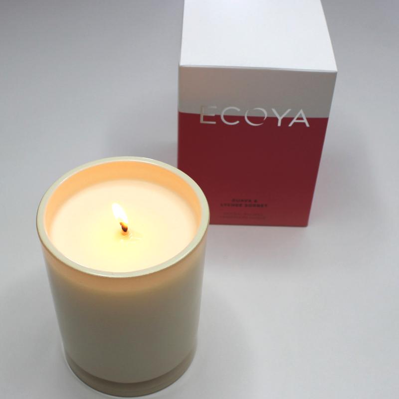 Ecoya Guava & Lychee Sorbet Madison Jar Candle | EmmaLouisa.com