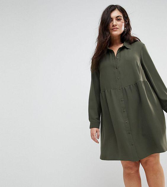 ASOS CURVE Smock Shirt Mini Dress