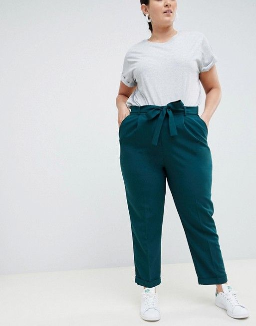 ASOS DESIGN Curve woven peg trousers with obi tie