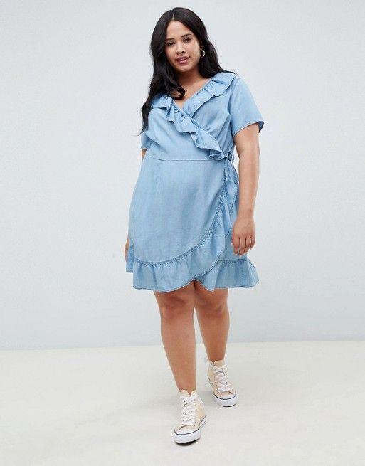 ASOS DESIGN Curve denim wrap dress with frill detail in midwash blue