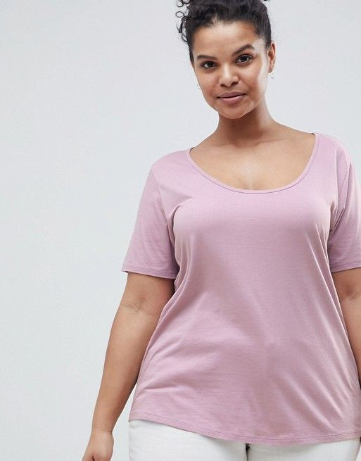 ASOS DESIGN Curve t-shirt with scoop neck and curved hem in mink pink