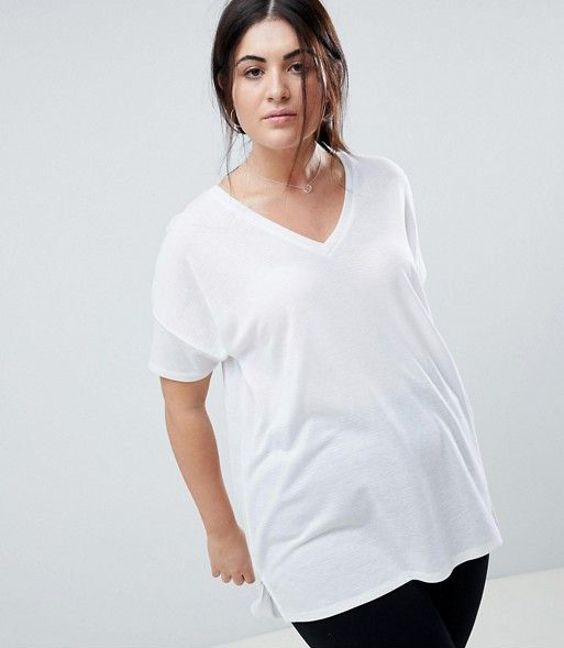 ASOS DESIGN Curve oversized longline t-shirt with v-neck in lightweight rib in white