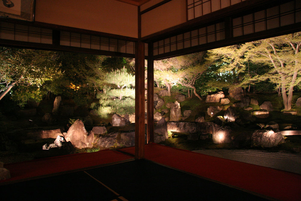 Fig.6 - Kodaiji Temple Kyoto: view of gardens at night from within temple
