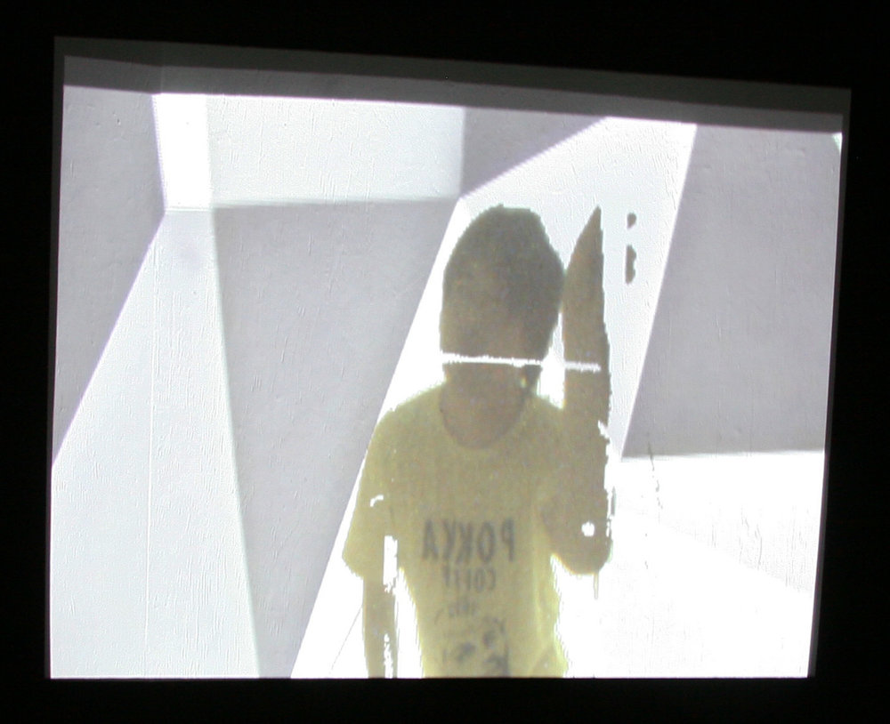 Fig.23 - 'Intangible Spaces' installation view Nathan Cohen Aisho Miura Arts Tokyo 2010: projected video feed image ascending stairs into installation