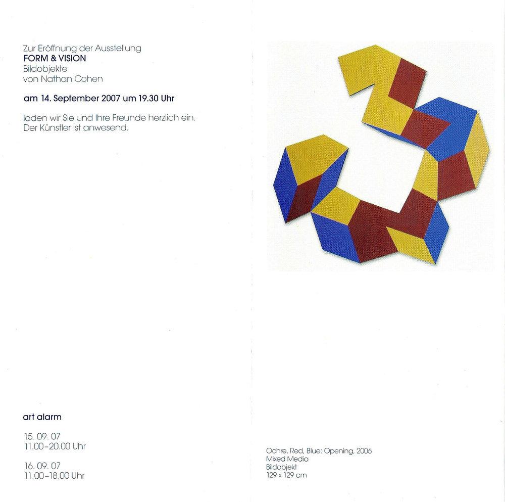 2007 Nathan Cohen – Form & Vision: Bildobjekte   Galerie Klaus Braun, Stuttgart, GERMANY