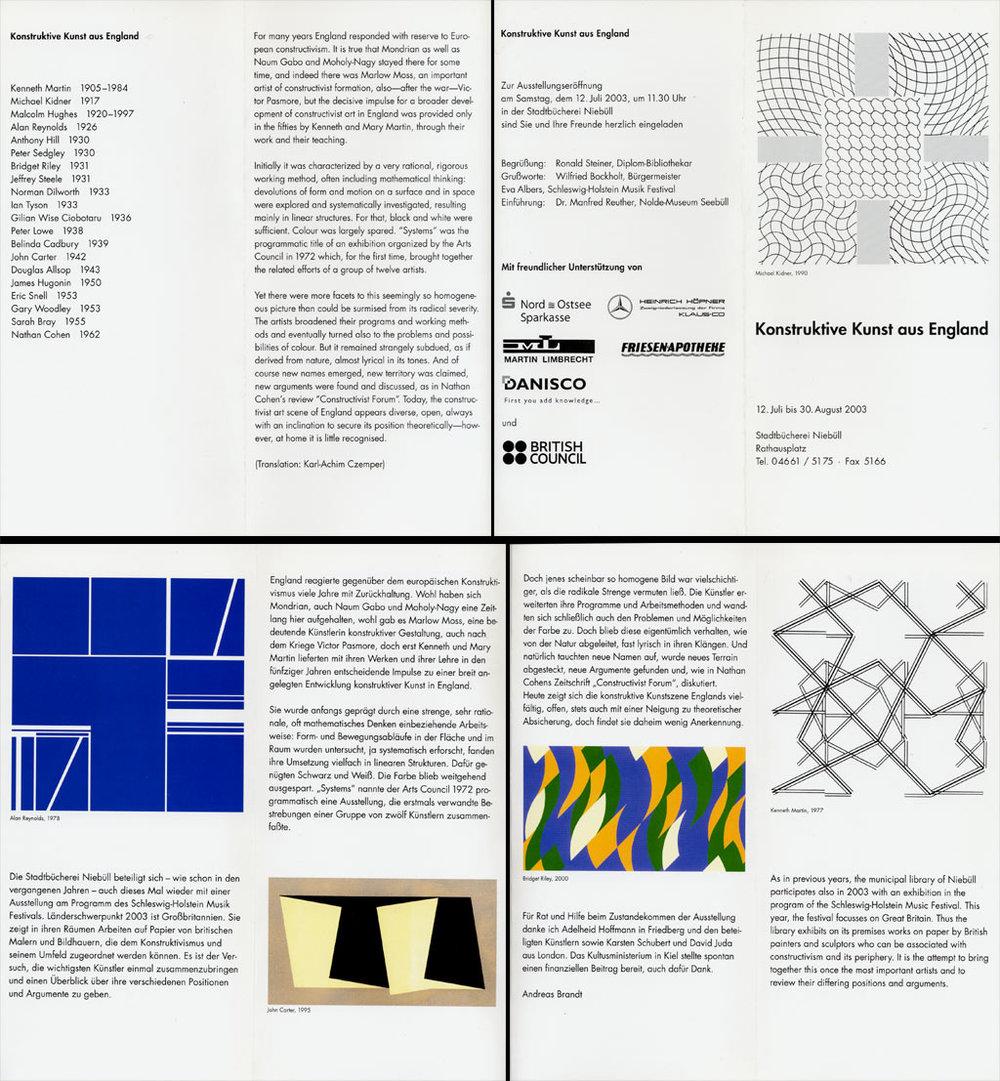 2003     Konstruktive Kunst aus England   Stadtbücherie Niebüll, D