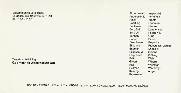 1994 Geometrisk Abstraktion XIII   Galerie Konstruktiv Tendens, Stockholm, SWE