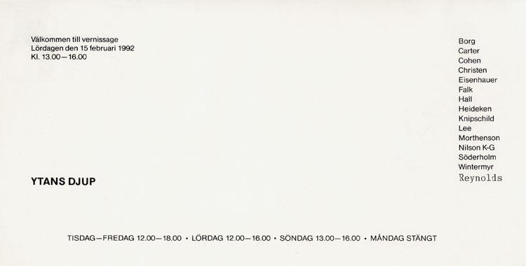 1992 Geometrisk Abstraktion XI   Galerie Konstruktiv Tendens, Stockholm, SWE