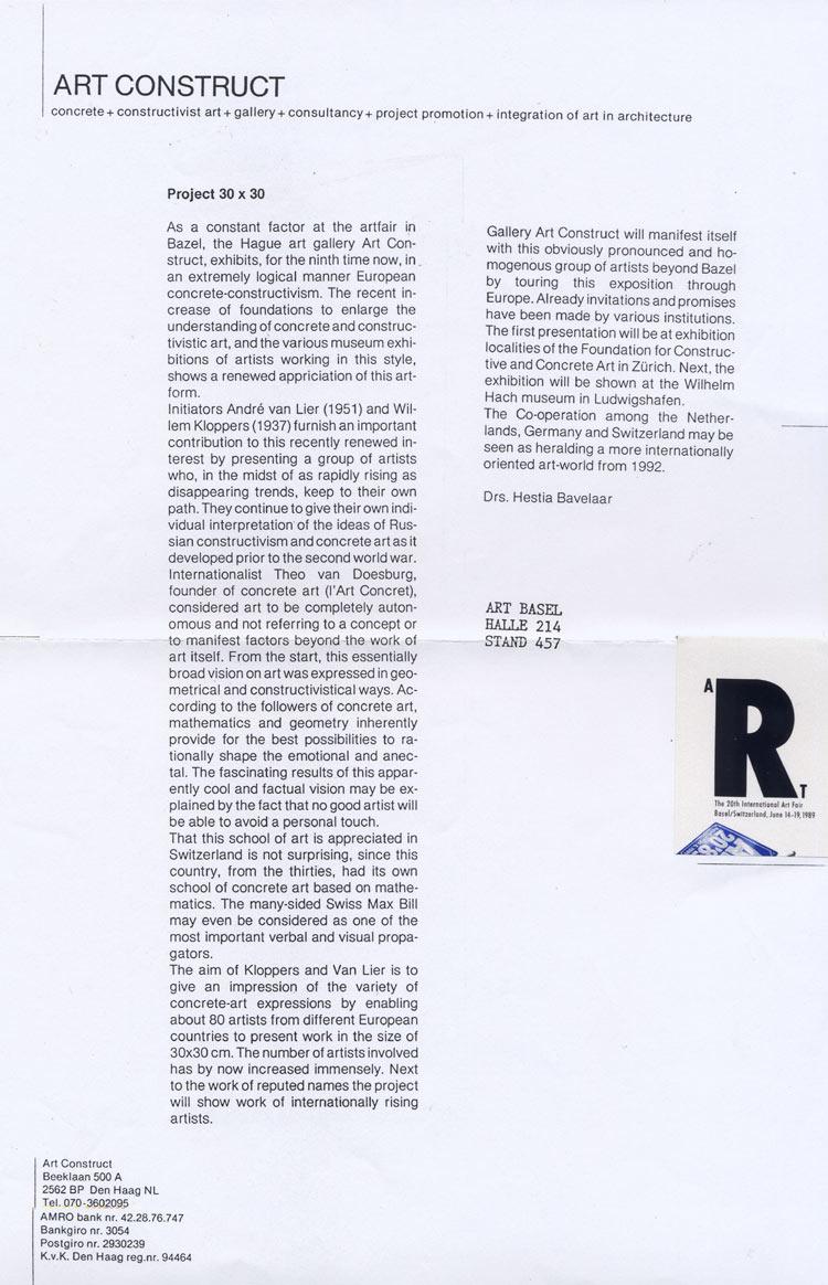 1992 30 x 30 Art Construct   Basle Kunstmesse, CH; Galerie L'Idée, Zoetermeer, NL