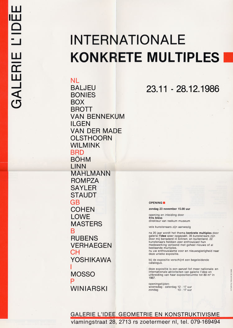 1986 Konkrete Multiples International   Galerie L'Idée, Zoetermeer, NL