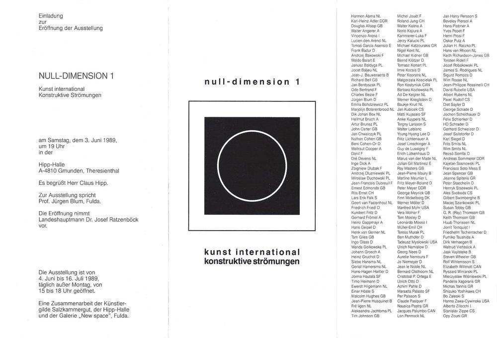 1989 Null Dimension 1, Konstruktive Strömungen   Gmunden, A