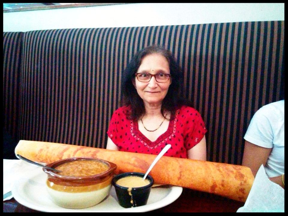 Mom ate the entire dosa and then, started picking off of my plate. She remains birdlike in size.