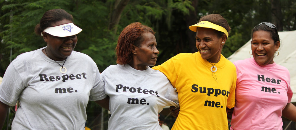 Members of the Solomon Islands Young Women's Christian Association (YWCA) march in support of female rights during International Women's Day in Honiara - Photo by Department of Foreign Affairs and Trade