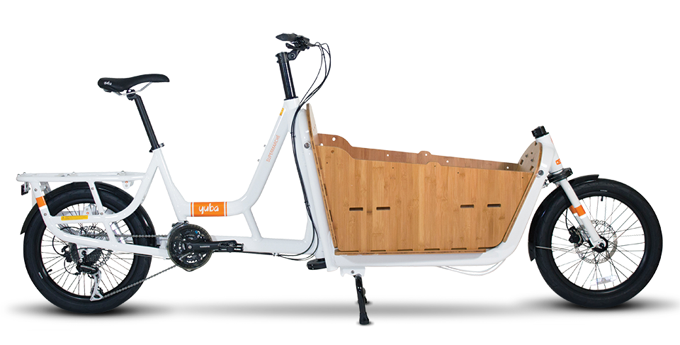 Need more room? - The Supermarché is Yuba's first Front Loader Cargo Bike. Designed for active parents, small business owners and folks making deliveries, the Supermaché can comfortably and safely haul three or more kids, the family pet, beer kegs or a load of lumber. And yes, it also comes in an electric version.