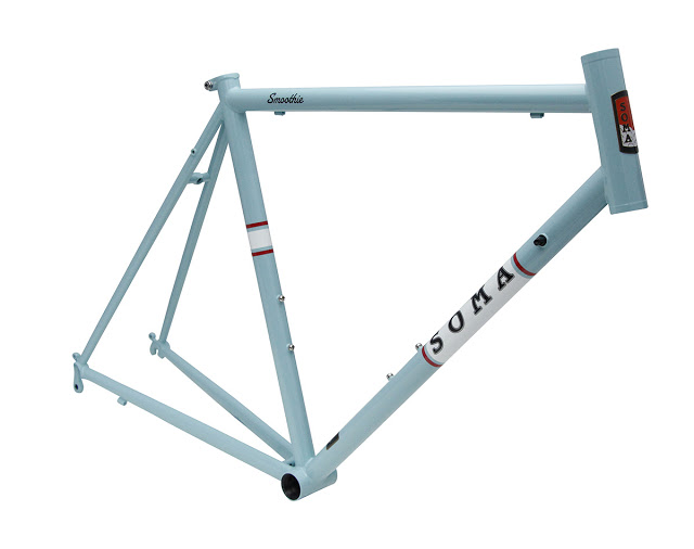 SMOOTHIE FRAME - Soma's Smoothie Road frame got a classic baby blue that you may not think of as classic. But it has beenused on custom hardtails to Look carbon road frames. They call it 'Baja Blue.'