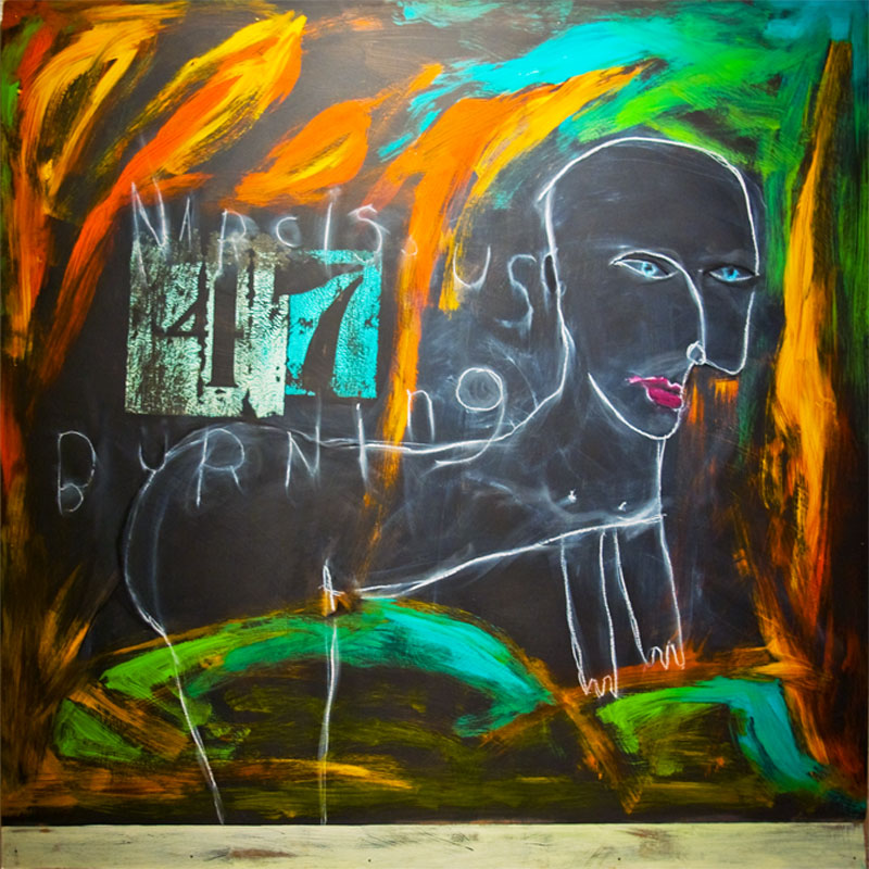 "narcissus burning medium: acrylic & oilstick on chalkboard size: 48"" x 48"" year: 2008"