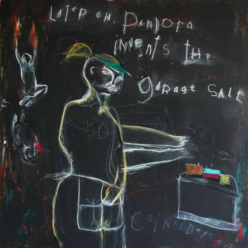 "pandora invents the garage sale medium: acrylic & oilstick on chalkboard size: 48"" x48"" year: 2008"