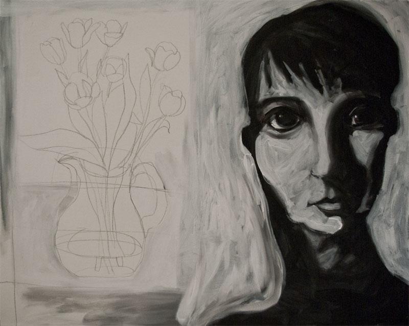 woman with tulips II medium size 2009