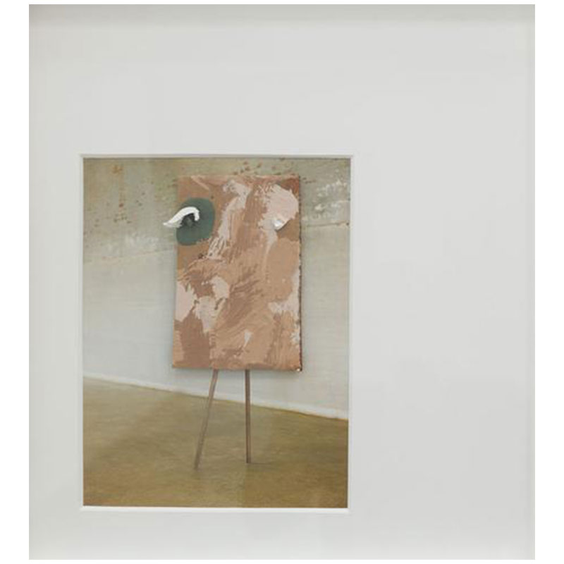 """Brion Nuda Rosch   Head with Legs , 2017 pigment, acrylic, plaster on cardboard on found book page 18.75 x 17.25"""" framed  Inquire >"""