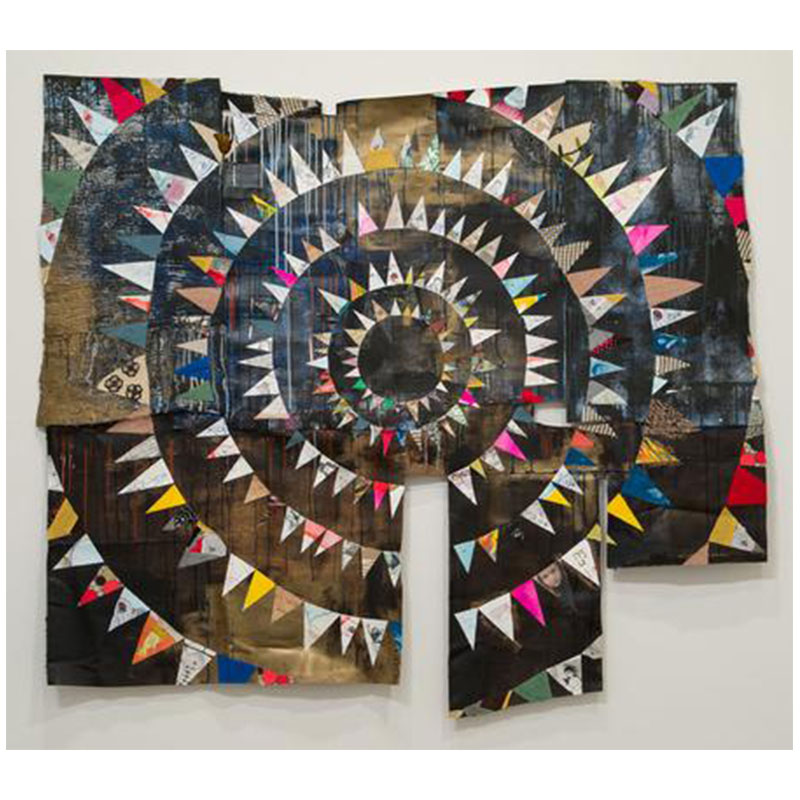 """Claire Cowie   Reversed Start Target #2 , 2018 Collage on printing felts and various fabrics 60 x 70""""  Inquire >"""