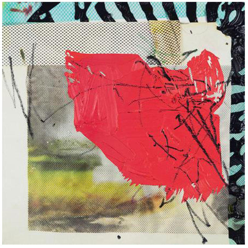 """Jimmy Baker   Arrangement 17 , 2017 oil, aerosol and digital print on canvas over panel 22 x 22""""  Inquire >"""