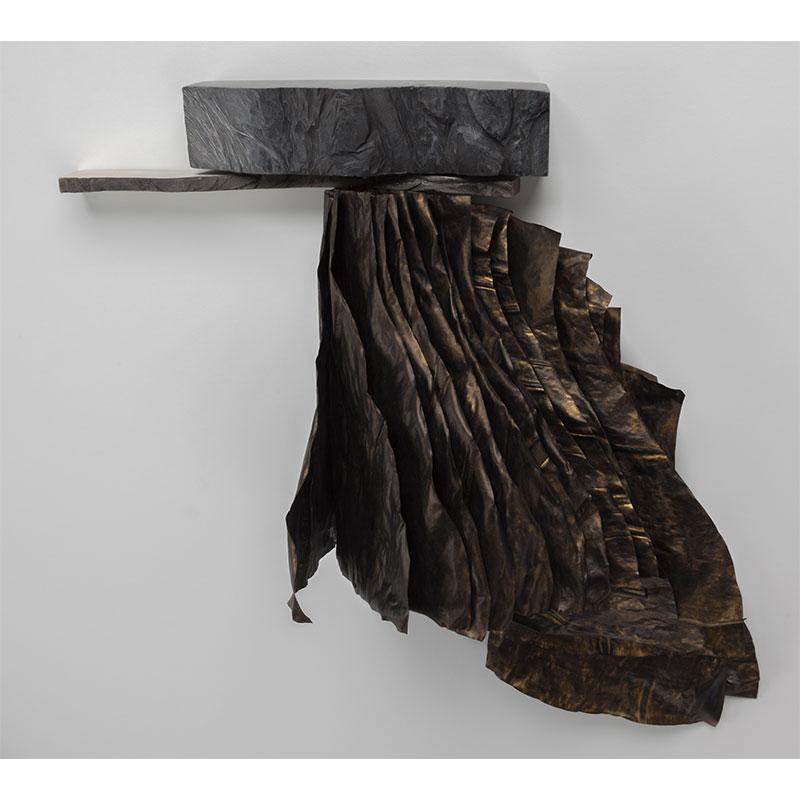 """Ledge 2 , 2016 wood, graphite, vellum, ink, gesso 16.25 x 17.25 x 6.5""""  Inquire >"""