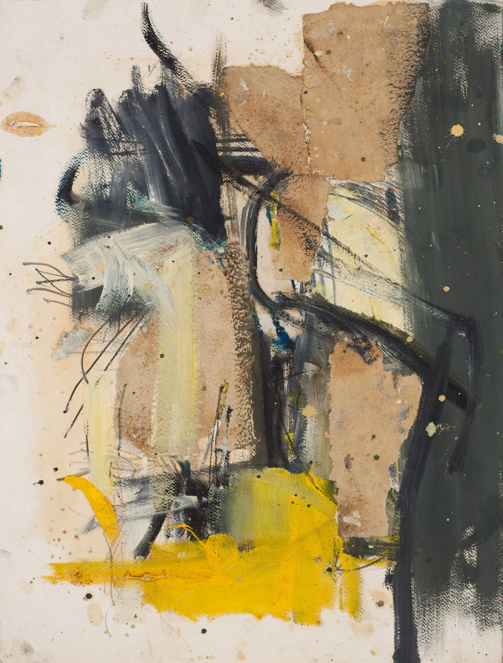 """Untitled , 1962-63 oil and collage on paper 24 x 18"""" paper 29.25 x 23.5"""" framed"""