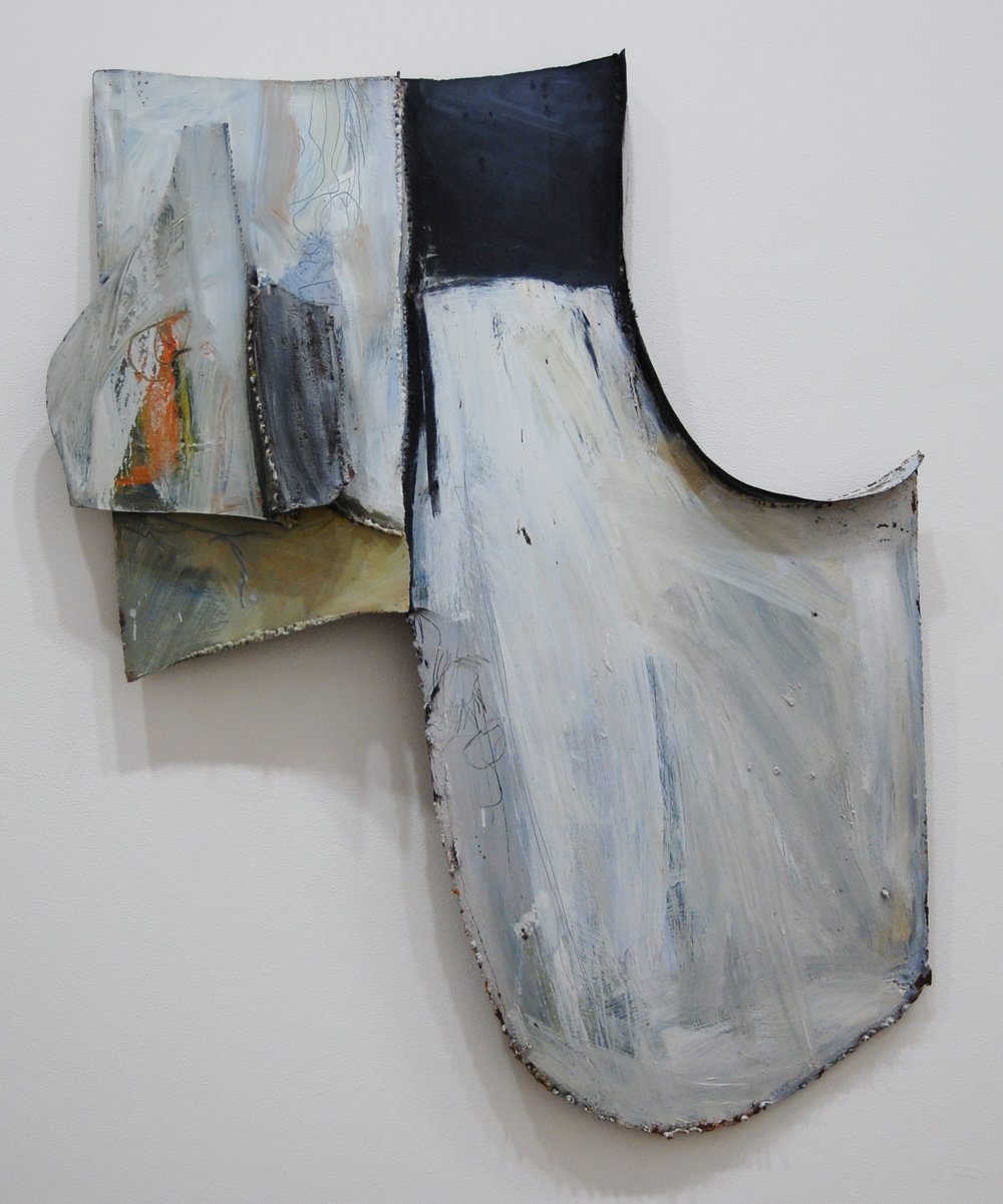 """Untitled (large white construction) , 1965 painted metal construction 48 x 40 x 6"""""""