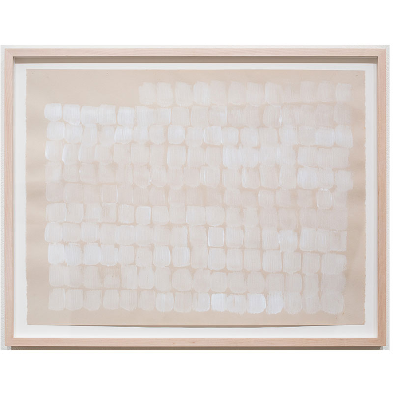 "Untitled II (white on cream) , c. 1982-1984 acrylic wash (stamp) on paper 19.75 x 26.25"" paper 23 x 29.5"" framed  Inquire >"