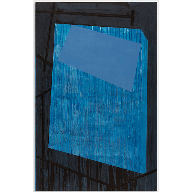 """Black and Blue , 2015 oil and wax on wood 36 x 23 x 2""""  Inquire >"""