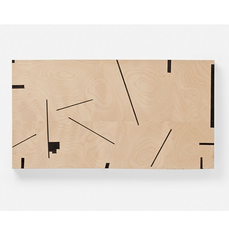 """Corner , 2012 oil and wax on wood 14.75 x 27.5 x 2""""  Inquire >"""