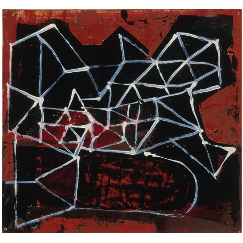 """Plot , 1999 oil on paper 9 x 8.5"""" paper 15.25 x 15.25"""" framed  Inquire >"""