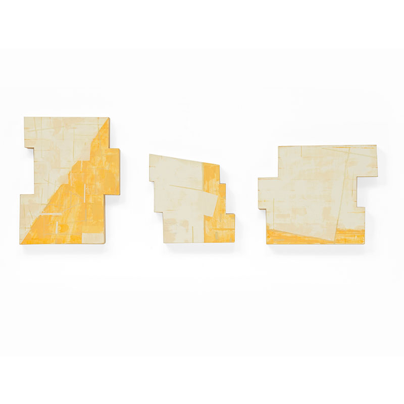 """Trio , 2012 oil, pencil and wax on wood Left: 15 x 11.75 x 2"""" Middle: 10.75 x 10 x 2"""" Right: 11.75 x 14 x 2""""  Inquire >"""