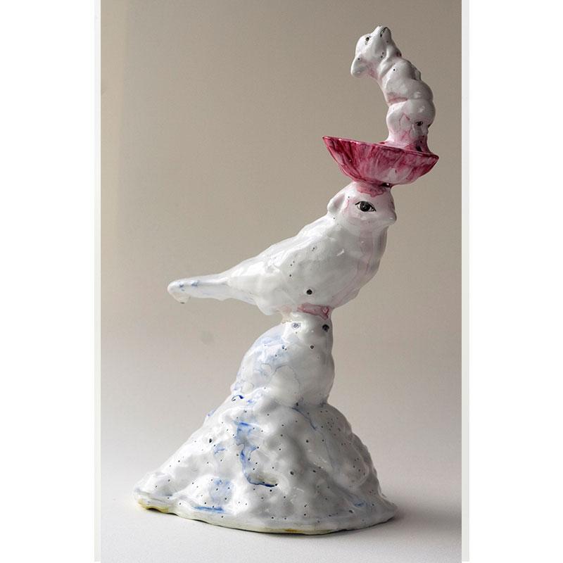"Bird Tower , 2009 cast urethane, gesso, Sumi color, pencil, MSA varnish 8.5 x 4 x 6""  Inquire >"