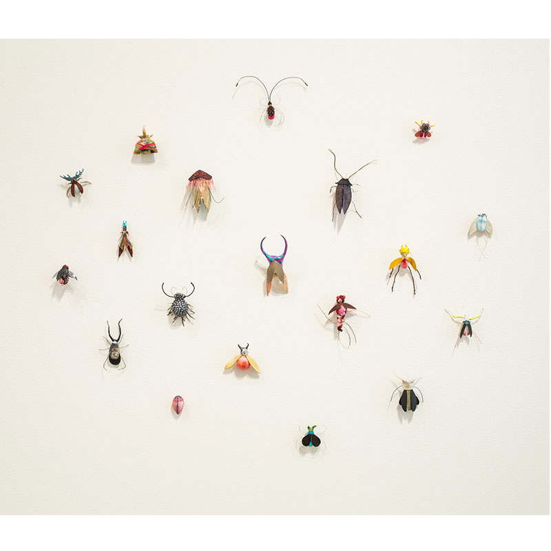 Collection 1 - 19 , 2013 fabric, wire, leather, ink, acrylic and enamel dimensions variable  Inquire >