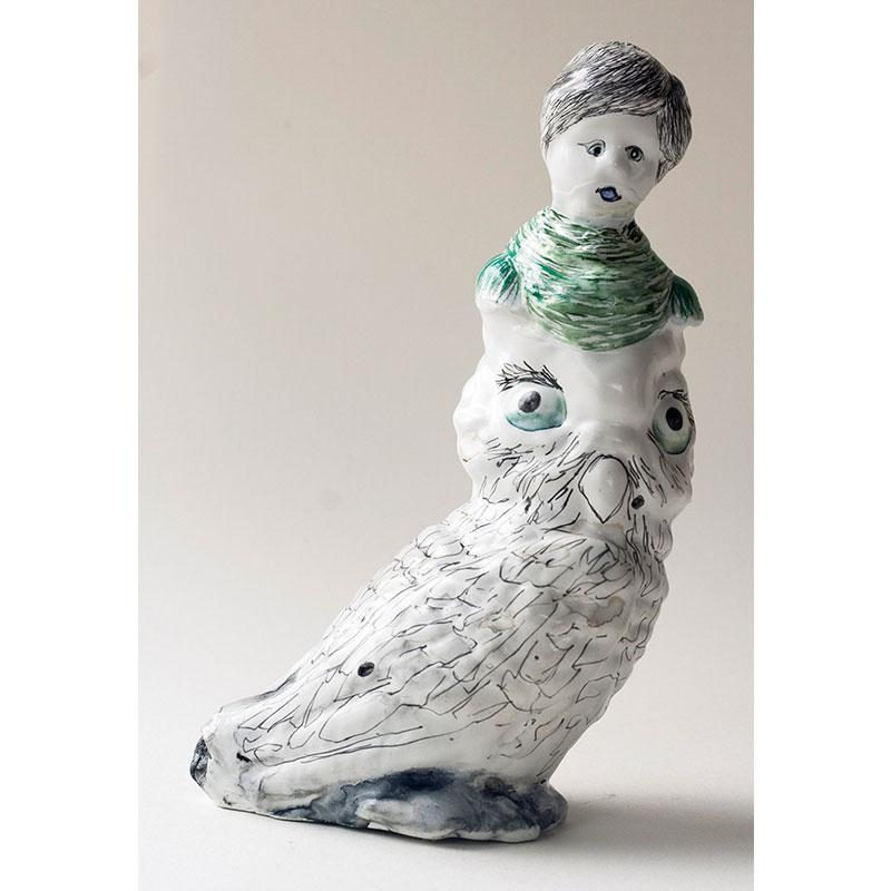 Owl Lady with Grey Hair , 2009 cast urethane, gesso, Sumi color, pencil, MSA varnish 6 x 3.5 x 2.75  Inquire >