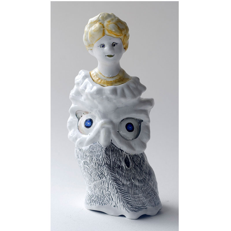 """Owl Lady with Yellow Hair , 2009 cast urethane, gesso, Sumi color, pencil, MSA varnish 5 x 2.5 x 2.5""""  Inquire >"""
