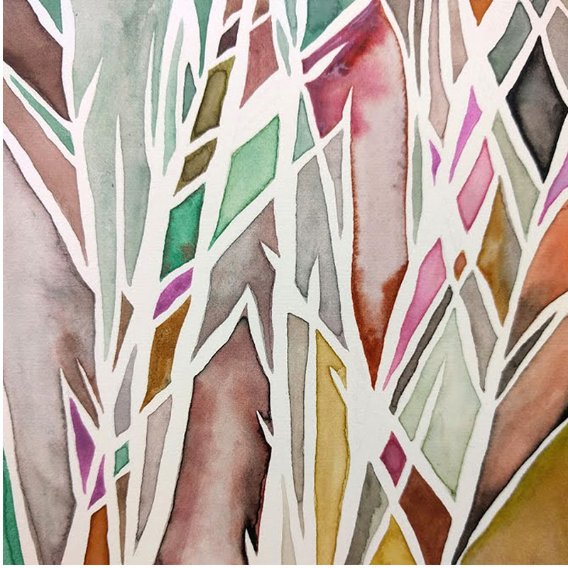 """UW Greenhouse No. 2 , 2016 acrylic and Sumi inks on paper 4 x 4""""  Inquire >"""
