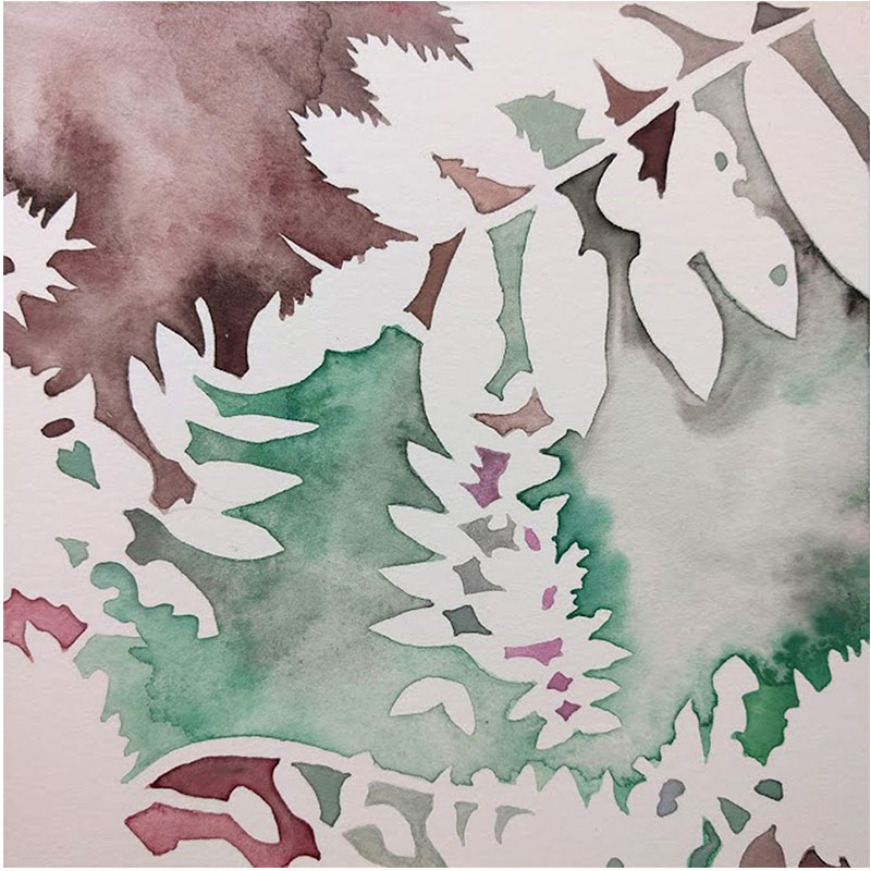"""UW Greenhouse No. 3 , 2016 acrylic and Sumi inks on paper 4 x 4""""  Inquire >"""
