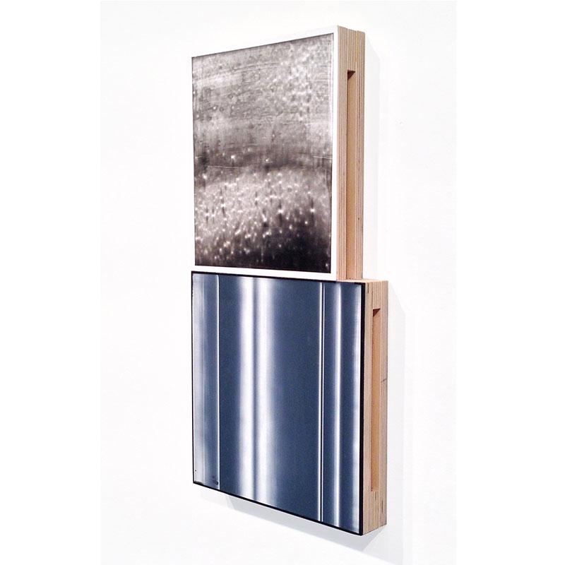 "Fauxtos (5) , 2015 acrylic glaze on Polypropylene sheet, board and plywood 17 x 8.5 x 1.5""  Inquire >"