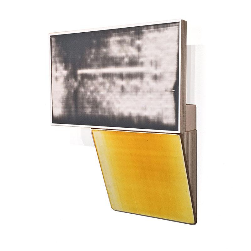 "Fauxtos (7) , 2015 acrylic glaze on Polypropylene sheet, board and plywood 5.75 x 7.25 x 1.5""  Inquire >"