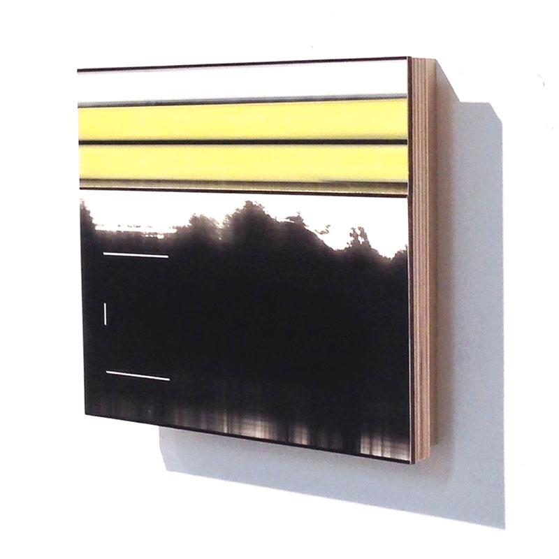 "Twice (22) , 2014 board, plywood and acrylic glaze 8.25 x 7.25 x 1.5""  Inquire >"