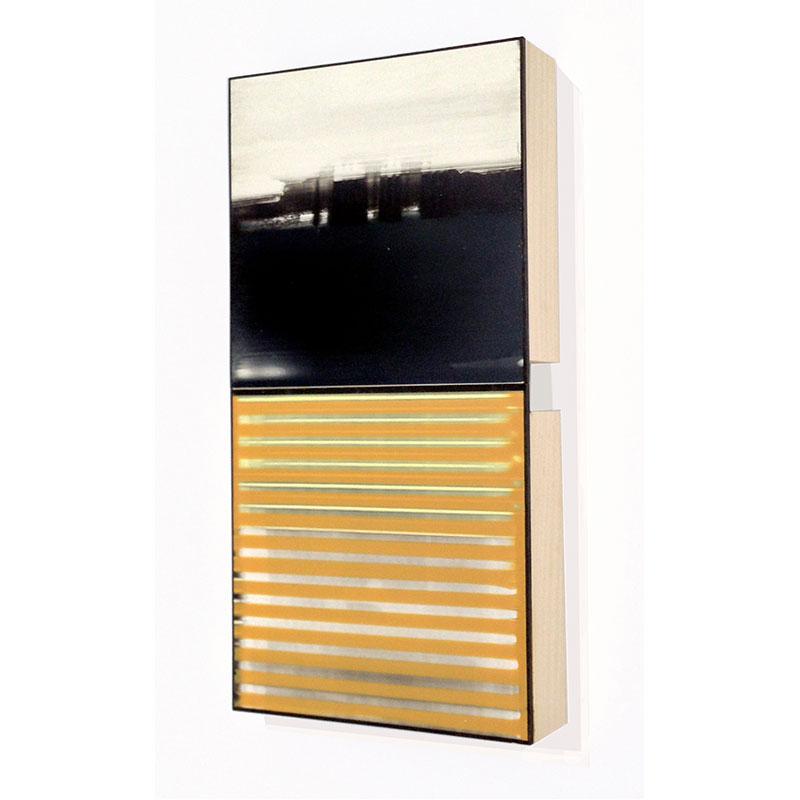 "Twice (11) , 2014 board, plywood and acrylic glaze 12 x 6 x 1.75""  Inquire >"