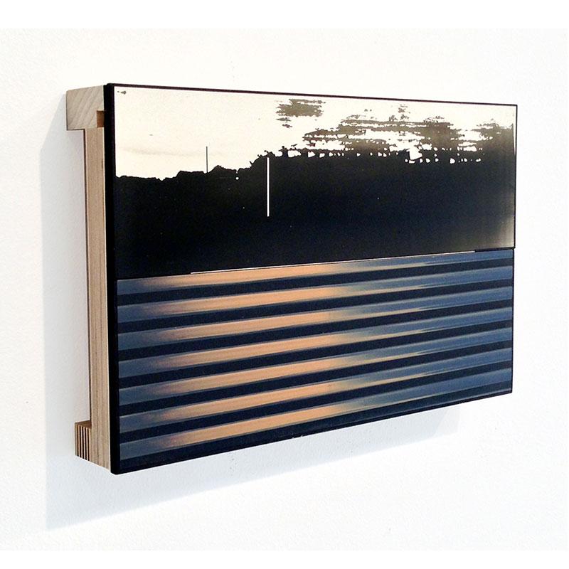 "Twice (18) , 2014 board, plywood and acrylic glaze 11 x 7 x 2""  Inquire >"