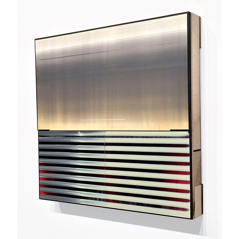 "Twice (20) , 2014 board, plywood and acrylic glaze 9.5 x 9.5 x 1.25""  Inquire >"
