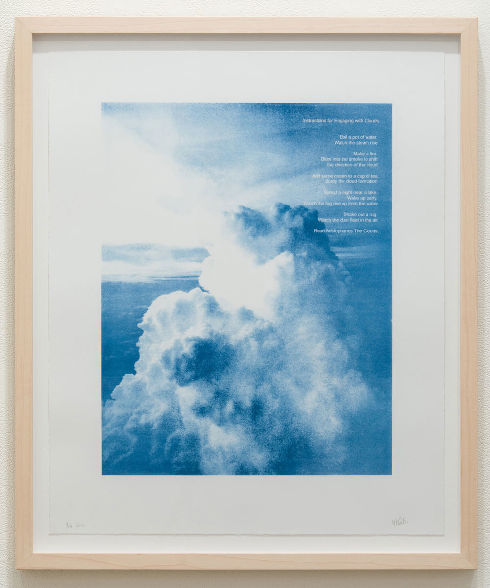 "Instructions for Engaging with Clouds , 2017 photographic print 23 x 18.75"" paper 26.5 x 22.25"" framed Edition of 14"