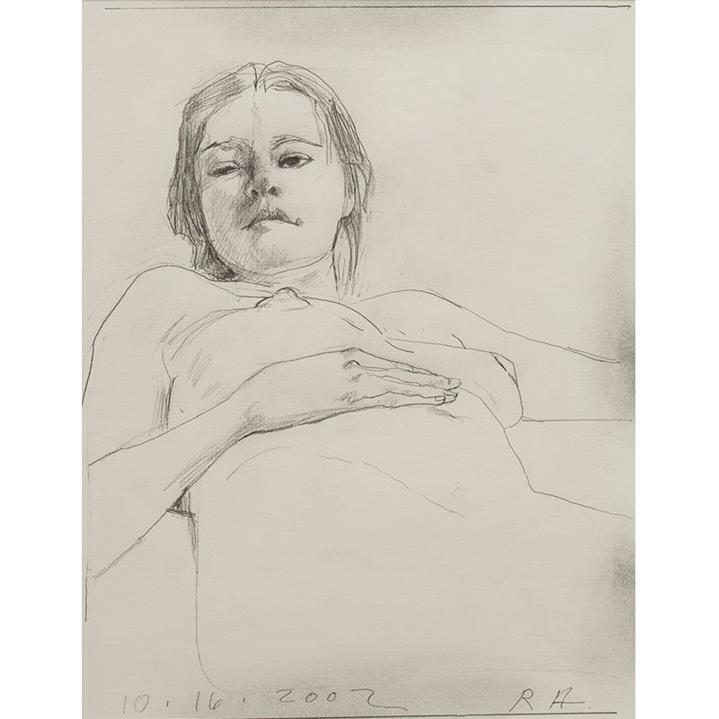 "Anonymous , 2002 pencil on paper 12 x 9"" paper 20.25 x 16.25"" framed  Inquire >"